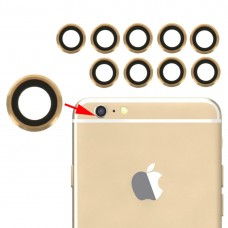 10 Pairs for iPhone 6 & 6s Rear Camera Lens with Bezel(Gold)