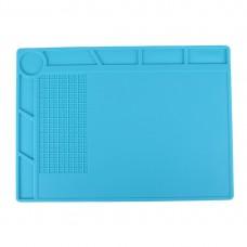 Maintenance Platform High Temperature Heat-resistant Repair Insulation Pad Silicone Mats with Screws Position, Size: 35cm x 25cm(Blue)