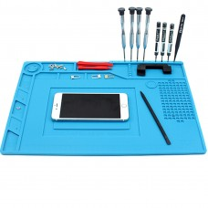 JIAFA S-150 Maintenance Platform Heat-resistant Repair Insulation Pad Silicone Mats with Screws Position(Blue)
