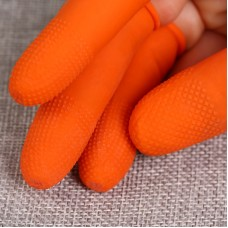 100 PCS Antistatic Antislip Durable Fingertips Latex Protective Gloves, Size: L, 2.8*6.5cm(Orange)