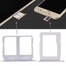 2 SIM Card Tray + Micro SD Card Tray for Galaxy A9100 / A9 (2016)(White)