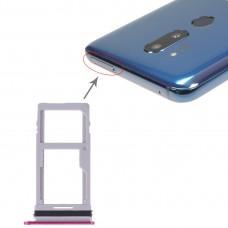 SIM Card Tray + SIM Card Tray / Micro SD Card Tray for LG G7 ThinQ G710 G710EM G710PM G710VMP G710ULM (Purplish Red)