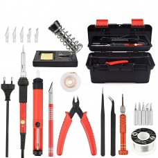 Adjustable Temperature Electrical Soldering Iron Kit Welding Repair Tool Set Tool Box(Color:Red Size:US Plug)