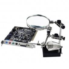 90mm Diameter 5X Multifunction Spring Iron Stand with Magnifying Glass