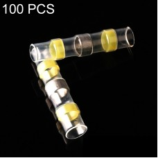 100 PCS AWG12-10 4-6mm Seal Heat Shrink Butt Wire Connectors Yellow Terminals Solder Sleeve(Yellow)