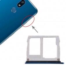 SIM Card Tray + Micro SD Card Tray for LG K40 / K12 Plus / X4 (2019) / X420EM / X420BMW / X420HM / X420 / X420N (Blue)