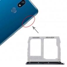 SIM Card Tray + Micro SD Card Tray for LG K40 / K12 Plus / X4 (2019) / X420EM / X420BMW / X420HM / X420 / X420N (Silver)