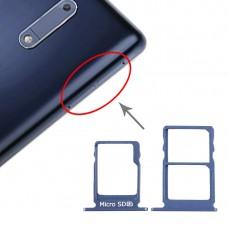 SIM Card Tray + SIM Card Tray + Micro SD Card Tray for Nokia 5 / N5 TA-1024 TA-1027 TA-1044 TA-1053 (Blue)