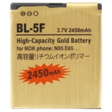 2450mAh BL-5F High Capacity Gold Business Battery for Nokia N95 / N96 / E65
