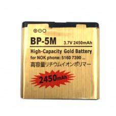2450mAh BP-5M High Capacity Gold Business Battery for Nokia 5700XM / 5610 /  5610XM / 5700 / 7390 / 6220c