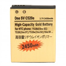 2450mAh High Capacity Gold Business Battery for HTC T528d (One SC) / T528t(One ST) / t528w (One SU) / One SV c520e