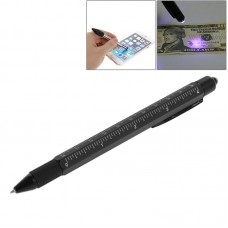 7 in 1 Metal Multifunction Touch Pen Ball Pen Screwdriver Ruler with Currency Detecting Function