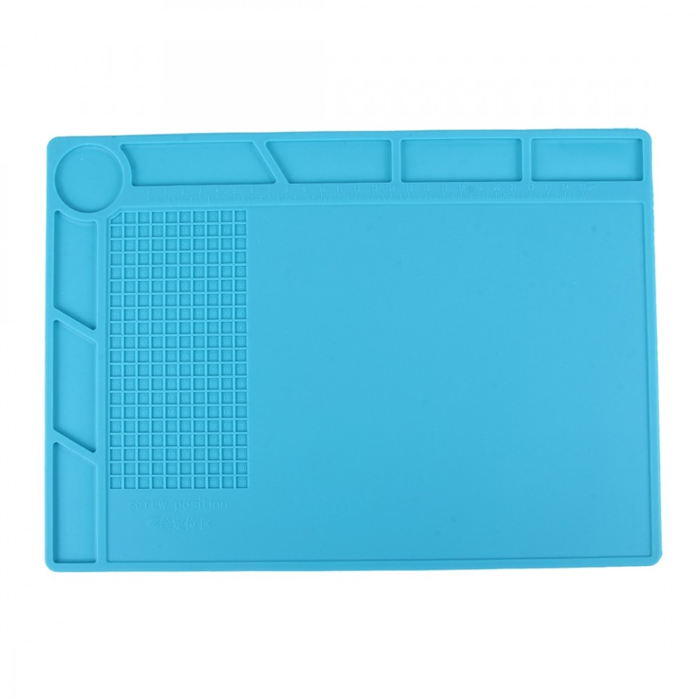 Maintenance Platform High Temperature Heat-resistant Repair Insulation Pad Silicone Mats with Screws Position, Size: 35cm x 25cm(Blue)