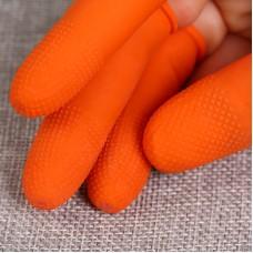 100 PCS Antistatic Antislip Durable Fingertips Latex Protective Gloves, Size: L, 2.8*6.5cm(Orange)