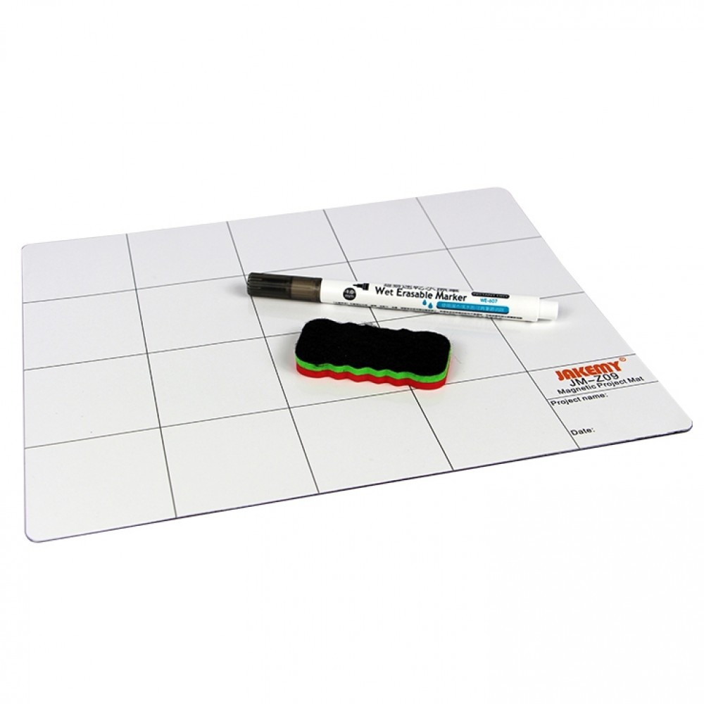 JAKEMY JM-Z09 25cm x 20cm Magnetic Project Mat with Marker Pen for iPhone / Samsung Repairing Tools