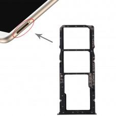 2 SIM Card Tray + Micro SD Card Tray for Huawei Enjoy 8 Plus(Black)