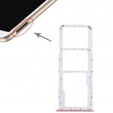 2 SIM Card Tray + Micro SD Card Tray for Huawei Enjoy 8 Plus(Pink)
