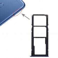 2 SIM Card Tray + Micro SD Card Tray for Huawei Honor Play 7C(Blue)