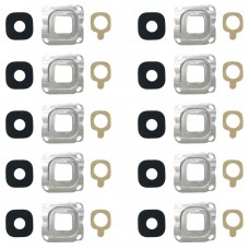 10 PCS Back Camera Bezel & Lens Cover with Sticker for Galaxy C7(Silver)