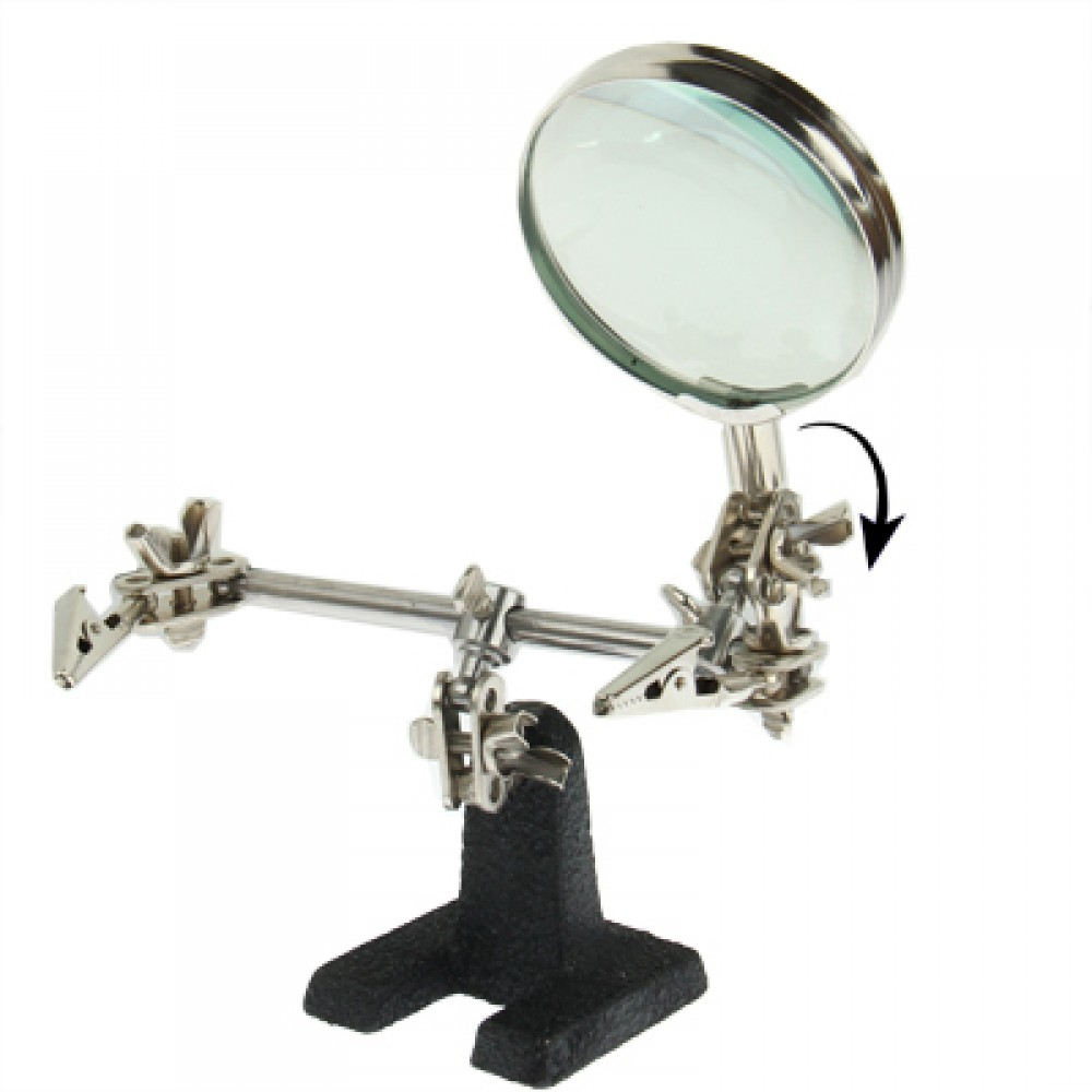 Helping Hand Magnifier, Hand Soldering Iron Stand Helping 2x Optical Magnifying Solder Tool(Silver)