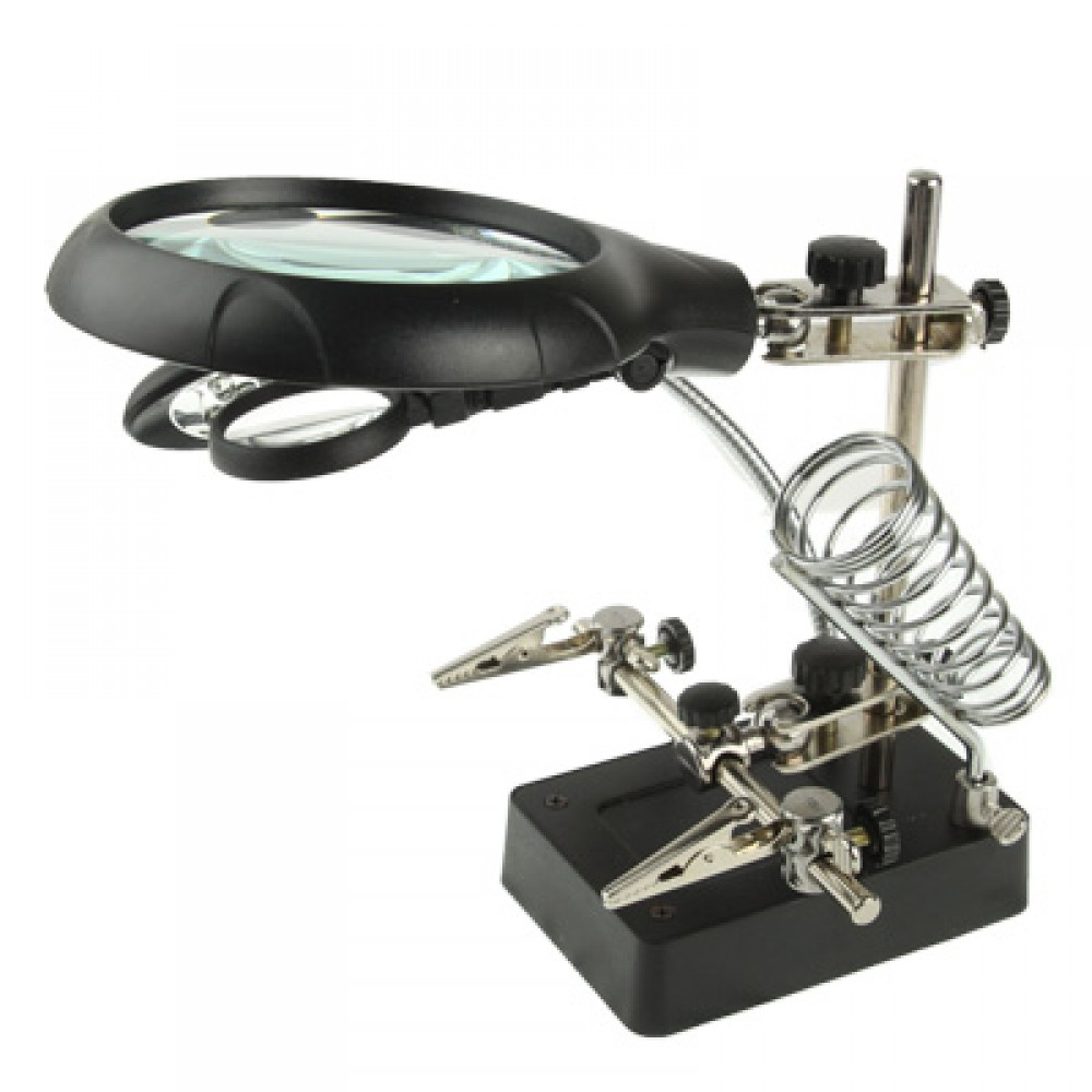 5 LED Auxiliary Clip Magnifier AC/DC Interchangeable with Soldering Stand & Two Magnifier(Silver)