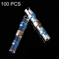 100 PCS AWG16-14 1.5-2.5mm Seal Heat Shrink Butt Wire Connectors Blue Terminals Solder Sleeve(Blue)