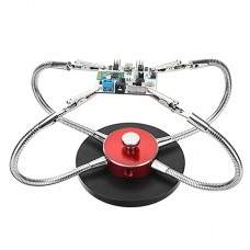 Universal Metal Base Soldering Station PCB Fixture (4 Metal Arms + Round Iron Base + Aluminum Base) (Red)