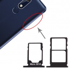 SIM Card Tray + SIM Card Tray + Micro SD Card Tray for Nokia 5.1 TA-1075 (Black)