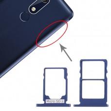 SIM Card Tray + SIM Card Tray + Micro SD Card Tray for Nokia 5.1 TA-1075 (Blue)