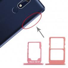 SIM Card Tray + SIM Card Tray + Micro SD Card Tray for Nokia 5.1 TA-1075 (Purplish Red)