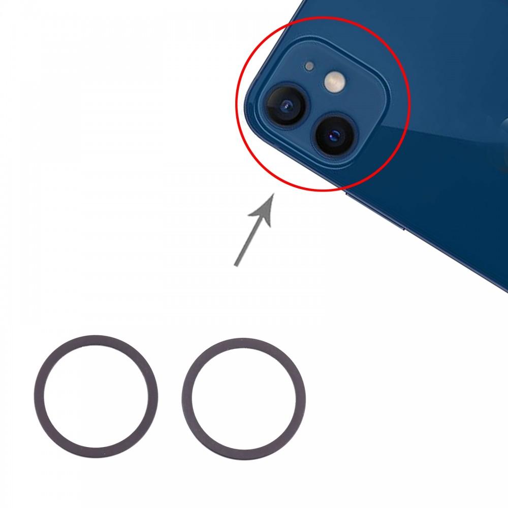 2 PCS Rear Camera Glass Lens Metal Protector Hoop Ring for iPhone 12 Mini (Blue)