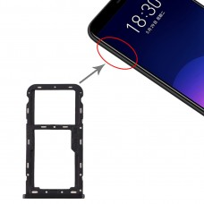 SIM Card Tray + SIM / Micro SD Card Tray for Meizu M6T(Black)